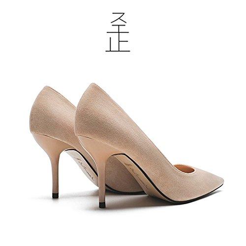 FLYRCX Primavera e autunno sharp suede singola calzatura ladies sottile e temperamento poco profonda alta partito scarpe tacco G
