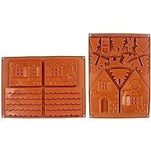 Rokoo 2 Unids / set 3D Casa de Pan de Jengibre de Navidad Molde de Pastel