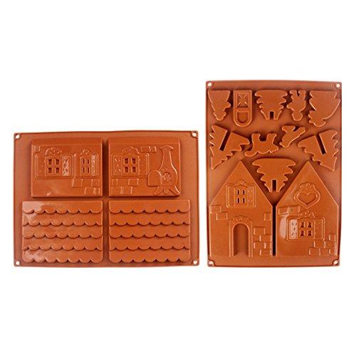 Rokoo 2 Unids / set 3D Casa de Pan de Jengibre de Navidad Molde de Pastel de Chocolate de Silicona DIY Galletas Herramientas de La Hornada