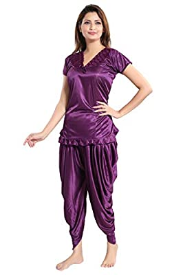 Romaisa Satin Night Suit, Top with Patiyala (Size : S,M,L)