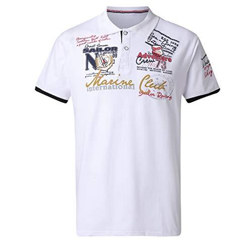 Buchstaben-Knopf-Persönlichkeits-Hemd der Art- und Weisemens Kurzhülse T-Shirt Tops Bluse Zolimx
