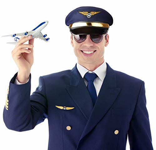 (Balinco Pilotenmütze dunkelblau mit Goldener Leiste für Damen & Herren - Größe verstellbar)