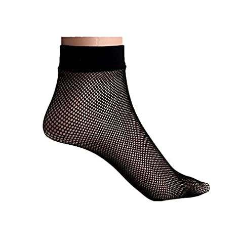 WOCACHI Damen Socken Frauen Fishnet Socken Spitze Knöchel Stilvolle kurze Socken Schwarz (D, Schwarz)
