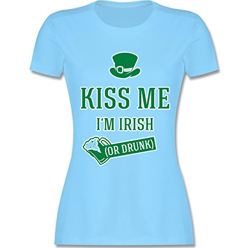 Shirtracer Festival - St. Patricks Day Kiss Me I'm Irish or Drunk - Damen T-Shirt Rundhals Hellblau