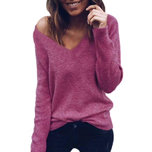 Damen Langarm-Strickpullover Tops Daoroka Baumwolle V-Ausschnitt Pullover Casual Bluse Shirt M Wein - Womens Designer Baumwolle Rock