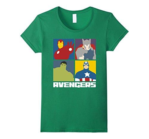 Womens Marvel Avengers Assemble IronMan Hulk Thor Cap 4 Box T-Shirt Medium Kelly Green (Womens T-shirt Green Sleeve Cap)