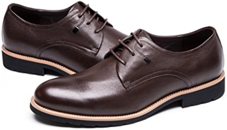 NBWE Business Herren Leder Derby Schuhe Helle Linien Dekorative Metall Quadrate Ziernähte Leder Gummisohle Arbeit