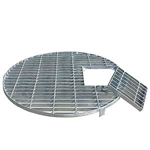 Grille ronde en acier galvanisé diamètre 66 cm pour fontaine avec grille pour piscine