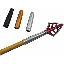 12Pcs Tiro al arco caza aluminio Insertar para ID 8mm Eje de flecha Flechas de madera y bambú (blanco)