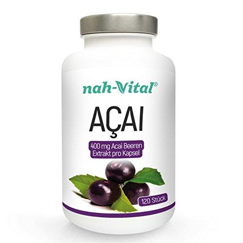 nah-vital Acai | 30 Tage | 120 Kapseln je 400mg Beeren-Extrakt | vegan, kristallzuckerfrei, laktosefrei | deutsche Premiumqualität | 1600mg Tagesdosis - Acai-früchte Kapseln
