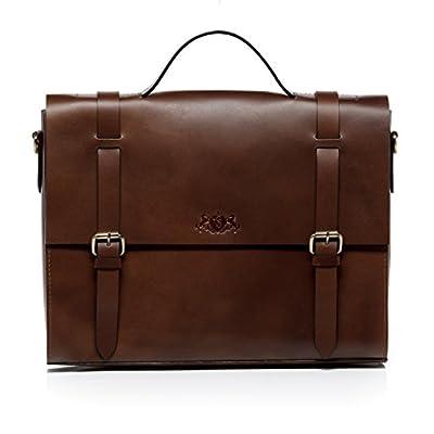 SID & VAIN® serviette BOSTON unisexe - grand mallette sacoche pour ordinateur, étui PC portable 15 pouces laptop iPad - sac de travail avec sangle homme et femme en cuir véritable