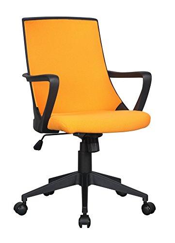 SixBros. Bürostuhl Drehstuhl Schreibtischstuhl Orange/Schwarz 0722M/2248