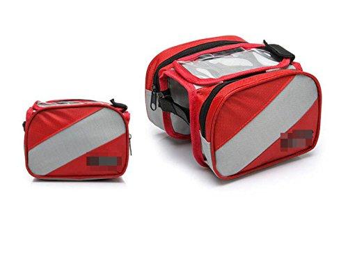 OGTOPOGTOPMountain Fahrrad Touchscreen Satteltasche Verpackungsfrontbalken Verpackungsfahrradzubehörpaket Reitgerätezubehör Red