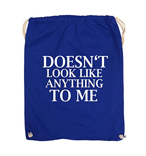 Comedy Bags - DOESN'T LOOK LIKE ANYTHING TO ME - Turnbeutel - 37x46cm - Farbe: Schwarz / Silber Royalblau / Weiss