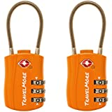 TravelMore 10453777, 2 Pack TSA Approved Travel Luggage Locks 3 Dial Combination Cable Padlock For Suitcases Bags Gym Lockers (Orange) (Luggage)