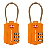 TSA Approved Travel Luggage Locks 3 Dial Combination Cable Padlock For Suitcases Bags Gym Lockers Orange 2 Pack