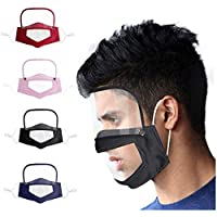 Zattcas Reusable Face Filters With Clear Window Visible Expression Mouth Cover for The Deaf and Hard of Hearing for Adults or Children Womens Mens Mouth Cover Transparent Visible