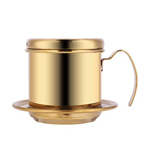 L-Beans Filtro Caffè Vietnamita Set di Presse, Gocciolatore per Caffè (Oro)
