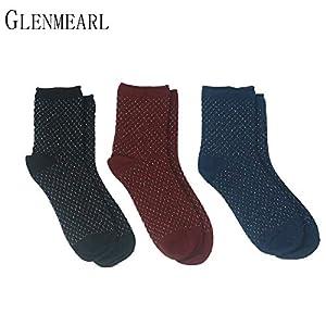 LILIKI@ 5 Paare/Los Baumwolle Glitter Frauen Socken Frühling Herbst Coole Kurze KompressionsqualitätMarke Damen Strumpfwaren Shiny Female Socken