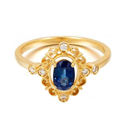 Epinki Damen Diamantring 18K Gold Ringe (Au750), 0.75Ct Saphir Ring Marquise Verlobungsringe Ring für Braut Gr.45 (14.3)