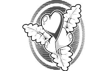 Petit coeur , zodiaque autocollant - 50cm Hauteur - 50cm Largeur - noir vinyle