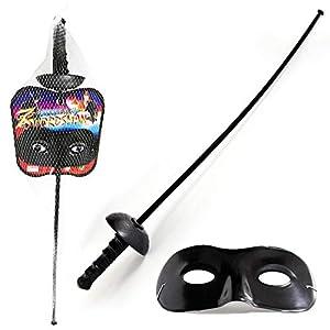 JUINSA - Set Zorro con Espada y Antifaz, 60 cm, Color Negro (31907)