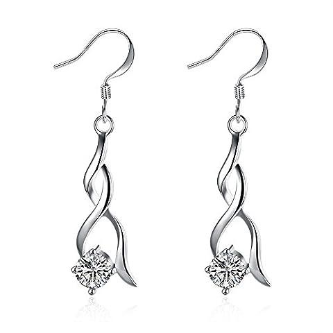 BODYA dangling silver tone cz Crystal twist spiral dangle drop