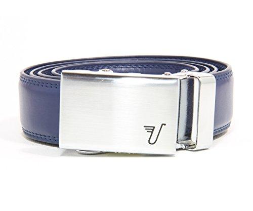 Missione a cricchetto cintura in pelle Cintura per bambini, collezione Alloy Buckle & Blue Leather Large