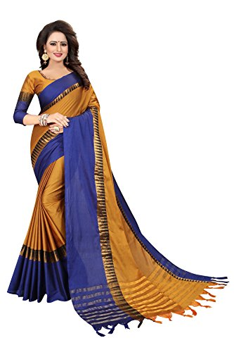 PerfectBlue Cotton Saree With Blouse Piece (Temple_goldblue_Free Size)