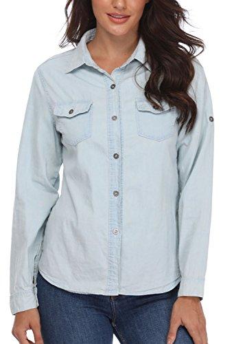 Chemises en Denim Blouses à col Rabattu Poches de Poitrine Roulé Manches Longues à Boutonnage Simple Bleu Clair Plain - XS MISS MOLY