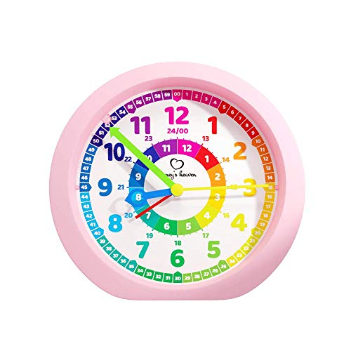 Honey\'s Heaven Kinderwecker ohne Ticken - für Jungen und Mädchen - Lernwecker Lernuhr Weckuhr Kinderuhr Quarzwecker Snooze Analog Quartz Wecker (pink)