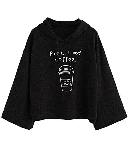 Minetom Frauen langes Hülsen-graues Buchstabe-Druck Kapuzenpulli Pullovers Coffee Schwarz DE 44 (Pullover Blend Graue)