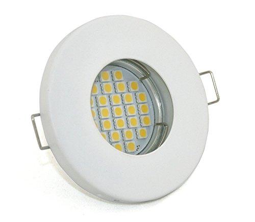 12Volt Set Bad Einbaustrahler IP65 | Dusche, Bad, Sauna, Vordach | + GU5.3 MR16 12Volt AC/DC 4,5Watt LED warmweiss 450Lumen 2700Kelvin