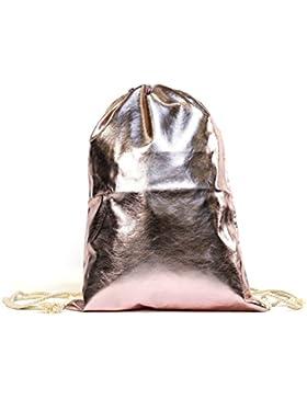 MEGASTYL Tasche Sportbeutel Turnbeutel Rucksack Metallic-Farben Hipster Rosé Gold Silber Bronze Schwarz Pink Rot