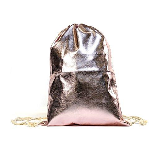 Megastyl Tasche Sportbeutel Turnbeutel Rucksack Metallic-Farben Hipster Rosé Gold Silber Bronze Schwarz Pink Rot, Farbe (Metallic Look):Rosa, Größe:Onesize