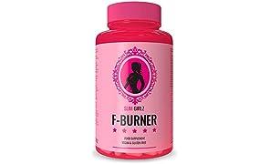Slim Girlz F-Burner | Brûleur De Graisse pour Femmes |Complément Alimentaire Végétalien |Perte de Poids Sans Sport | Coupe-Faim Naturel | Sûr et Efficace | 60 Capsules Végétariennes | Pilules Minceur