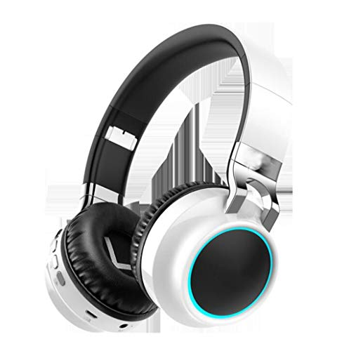 Gaming-Headset Leuchtendes Headset Bluetooth-Headset Stereo-Sport-Laufcomputer-Headset LED-Mehrfachlicht, Soft-Memory-Ohrenschützer, for Gaming (Color : White)