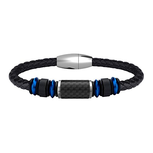 COOLMAN Lederarmband für Männer Edelstahl Geflochtenes Cuff Armband Mit Carbon Fiber Bead Magnetverschluss 8,5 Zoll (21.5 cm, Blau)