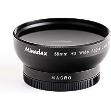 Minadax 0.5x Objectif grand angle avec macro pour Canon PowerShot G10, G11, G12–en noir