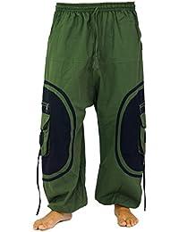 Guru-Shop Goahose, Herren Afghani - Olive/schwarz, Baumwolle, Männerhosen Alternative Bekleidung