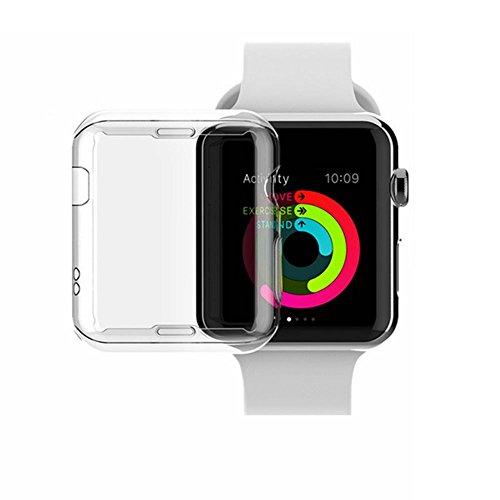 Shirylzee Apple Watch Hülle Displayschutz iWatch Hülle Smartwatch Schutzhülle Weiche Transparent TPU Rundherum Schutz iWatch Case Kompatibel mit Apple Watch Series 2/3 (38mm)