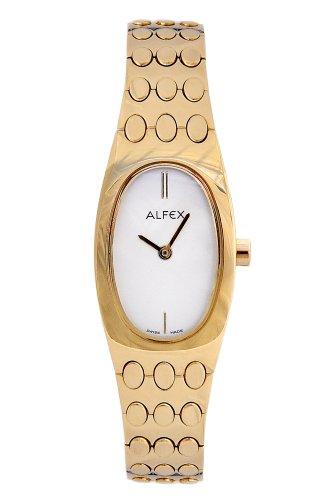 Alfex - 5475_021 - Montre Femme - Quartz Analogique - Cadran Gris - Bracelet Acier plaqué Doré