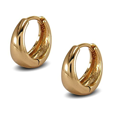 Blue Diamond Club - Classic Tapered Hoop Earrings Womens 18ct Gold Filled Small Huggie Hoop Earrings