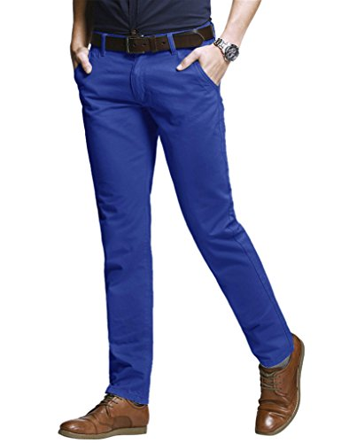 Match Herren Slim-Tapered Flat-Front Casual Hose #8060(8060 Washed blau,29) (Dress Hose Formal)