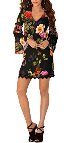 Bigood Imprimé Fleur Robe Sexy Col V Manche Longue à Volants pour Femme Multicolore