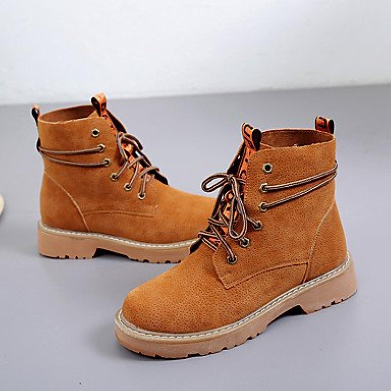 Desy Suede zapatos de mujer primavera otoño botas de combate botas tacón bajo botas caña media cordones y punta...