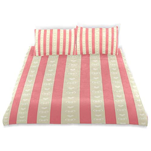 Soefipok Dekor Bettbezug Set, Retro Carmine Orcher Stripes Print EIN dekoratives 3-teiliges Bettwäscheset mit Kissenbezügen -