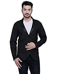 A.B.C. Garments Black Matty Cotton Single Breasted Blazer For Men