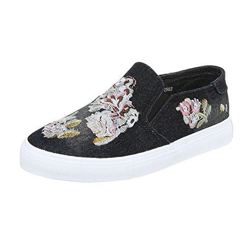 Ital-Design , chaussons dintérieur femme Schwarz 2503
