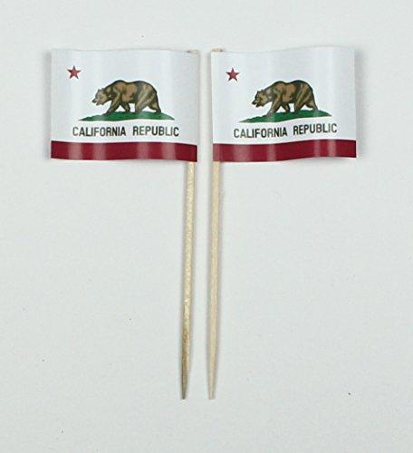 (Party-Picker Flagge Kalifornien California USA Bundesstaat Papierfähnchen in Spitzenqualität 50 Stück Beutel)
